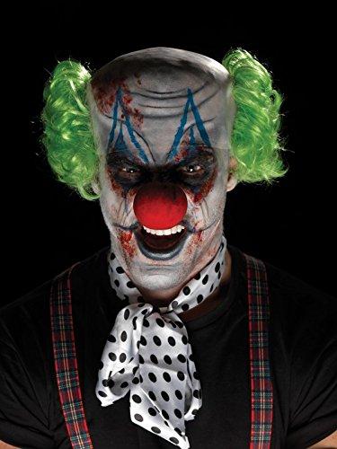 Smiffys Unisex Grusel Clown Make-Up Set, Glatzen-Mütze, Haare, Nase, Gesichtsfarbe, Fake-Blut und Applikatoren, One Size, Bunt, 45207 (Glatze-mütze)