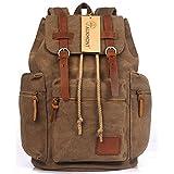 AUKMONT Vintage Canvas Rucksack Rucksäcke Herren Damen Retro Schulrucksack Backpack für Stendenten Outdoor Reise Wandern Camping Kaffee #221