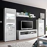 Pharao24 Design Wohnwand in Hochglanz Weiß 280 cm Breit (4-teilig) LED Beleuchtung Energieeffizienzklasse LED
