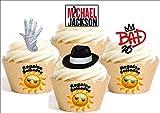 12x–Mischung von Michael Jackson Mischung Cartoon Dekoration Papier bedruckt Essbar quickmemo Pizzarahmen Happy Birthday