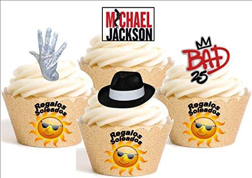 12x–Mischung von Michael Jackson Mischung Cartoon Dekoration Papier bedruckt Essbar quickmemo Pizzarahmen Happy (Michael Dekorationen Jackson)