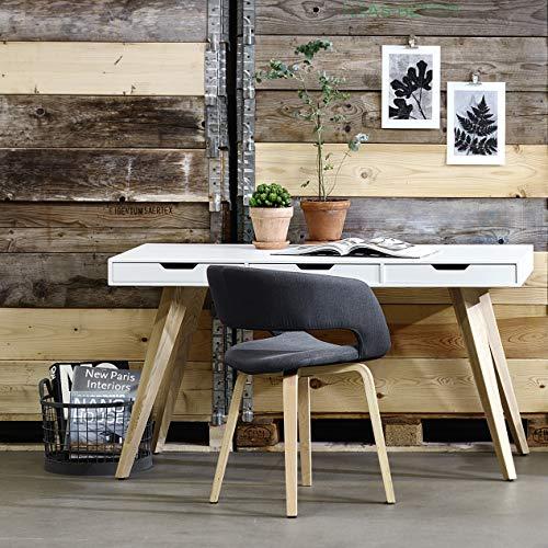 cagü: EXKLUSIVER DESIGN SCHREIBTISCH [AALBORG] WEISS mit 3 SCHUBLADEN und ESCHE BEINE 140cm | Zeitloser Designklassiker im skandinavischen Design! -