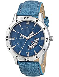 WM Day Date Collection Blue Dial Blue Leather Strap Watch For Men And Boys DDWM-046