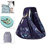 Rengzun Porte-Bébé Sling Multifonction Coton Écharpe de Portage pour Nouveau-nés Avec Sac de Rangement Respirant Confortable