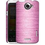 HTC One X Hülle Premium Case Cover Metal Look - Pink Metall Rosa Pink