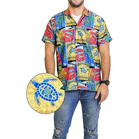 LA LEELA Shirt camisa hawaiana Hombre XS - 5XL Manga corta Delante de bolsillo Impresión hawaiana casual Regular Fit Camisa de Hawaii Rojo
