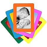 Juego de 5 colorido magnético Marcos de Fotos por De Dazzle. Tamaño postal estándar de 4 x 6 pulgadas marcos de fotos para frigorífico. Apreciar recuerdos de familia & amigos. Uso en casa o regalo para seres queridos hoy.