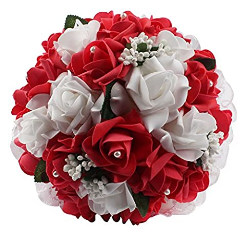 Beautiful Wedding Bouquets in Your Heart, AerWo Modern Style White Lace Pearls Bride Bridemaid Wedding Bouquet Artificial Silk Flower Red