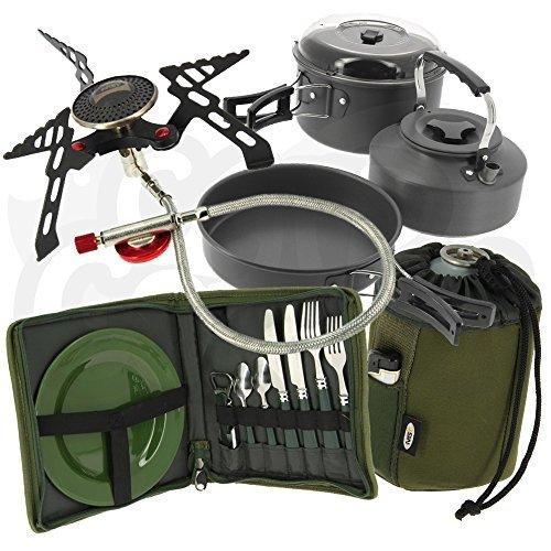 New Carp Fishing Insulated Brew Kit Bag & 3pc Kettle, Pot & Pan Set & Stove & Butane Gas Cover