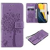 Cofola Coque Samsung Galaxy S6 Edge, Gaufrage Arbre et Chat Leather Cuir Rabat Wallet...