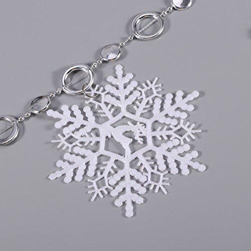 LUOEM Flocon de Neige Suspendu chaîne Noël décorations de bannière Guirlande Flocon de Neige pour Noël Ornement de Vacances 2M (Blanc)