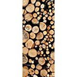 Textil-Banner mit gestapelten Baumstämmen (Displaybanner) 100% Polyester Motivbanner