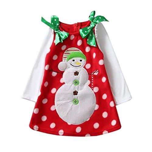 Vovotrade ✿✿Art- und Weisekind-Kleinkind-Säuglingsmädchen-Weihnachtsschneemann Bowknot-Kleid-Kleidung Rot