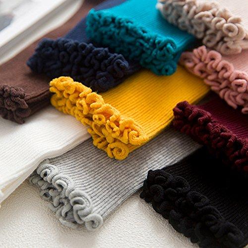 LUOEM Slouch Socken Stricksocken für Damen Mädchen Füße von 35-38 Größen (Weiß) - 2