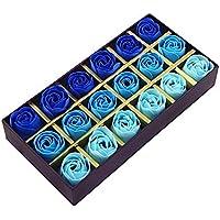 Itian 18pcs Rose Jabón Flor en Caja de Regalo, Fascinante Ramo de Rosas, Forma Bonita, Color del Gradiente (Azul)