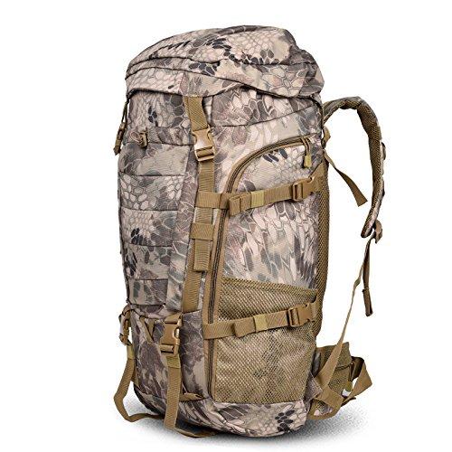 Outdoor zaino spalla uomini leisure sport viaggi double borsa a tracolla edizione Coreana di grande capacità alpinismo turismo borsa, deserto modello python 85L75*35*23cm (e) 90L 80*40*28cm