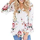 BHYDRY Frauen-Herbst-zufälliges Blumendrucken Lange Aufflackernhülse übersteigt T-Shirt Bluse(3XL,Weiß)