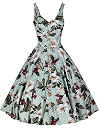744e527fb141 Pretty Kitty Fashion Mint Green Retro Vintage Floral Print Summer 50s Swing  Dress