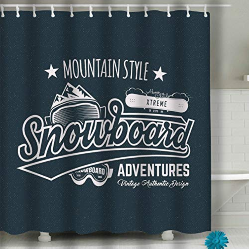 No Soy Como Tu Beach Shower Curtain Winter Snowboard Sports Label Vintage Mountain Style Design Outdoor Adventure Typography Fabric Bathroom Decor 60 X 72 Inch