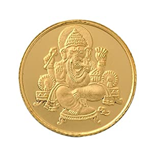 Bangalore Refinery 24k (999) Lord Ganesh 1 gm Yellow Gold Coin