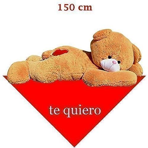 Ours en peluche géant, allongé, avec inscription en espagnol