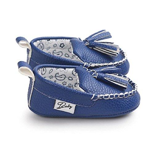 BZLine® Baby Mädchen Jungen weichen Sole Leder Schuh weichen Flats Schuhe Blau