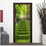 Adesivo Porta Parete 3D Foresta Verde Scale Paesaggio Carta Da Parati Soggiorno Sala Da Pranzo Porta Decalcomanie Autoadesiva Parete Incollare 80X200Cm