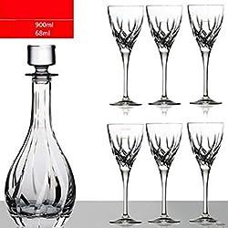 yiyang Wine Decanter, Inflador De Vino, Botella De Vino Rojo, Regalo De Vino Accesorios para El Vino Vino Tinto Sin Plomo Cristal Vaso, Decantadores, Copa De Vino Tinto 7 Sets Caja De Regalo, Copa,C