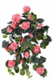 Set 2 x Deko Geranienhänger ANTON auf Steckstab, 130 Blättern, rosa, 65 cm, Ø 35 cm - 2 Stück - Künstliche Geranie - artplants