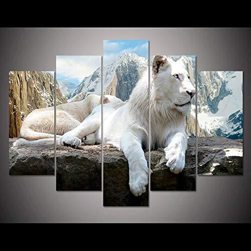 Xl Lion Dog Kostüm - mmwin HD Wohnkultur Gedruckt Bilder Malerei 5 Panel White Lion Tier Moderne Leinwand Wohnzimmer Wandkunst Modulare Poster