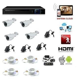 allarmshop Kit Videoüberwachung 4Kameras 1.3Mpx LED Infrarot + DVR AHD 4Kanal + Netzteil + HD 500GB + 4Power 20Meter-Remote