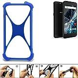 K-S-Trade Bumper für Archos 55 Graphite Silikon Schutz Hülle Handyhülle Silikoncase Softcase Cover Case Stoßschutz, blau (1x)