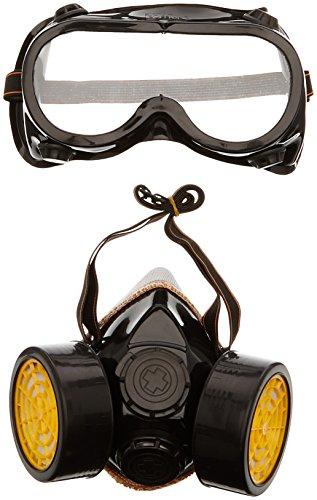 Trixes 2 x Atemschutzmaske und Schutzbrille gegen Staub und Farblack mit zwei Filtern, Ideal für Kostüme - Kostüm Atemschutzmaske Maske