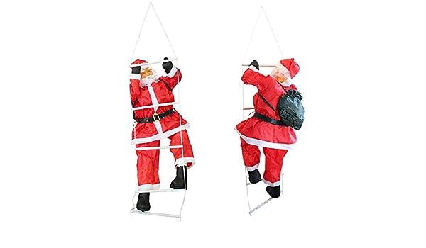 Weihnachtsmann auf Leiter 65cm Weihnachts Deko Weihnachten Figur Nikolaus