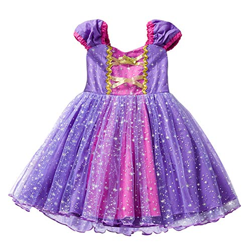 Kleinkind Kostüm Rapunzel - Prinzessinnen-Kostüm für Mädchen, Tüll, Prinzessin, Rapunzel, Kostüm, für Cosplay, Halloween, Geburtstag, Party-Kleid für Kinder, Kleinkinder, 1-6 Jahre 3-4 Jahre 100cm