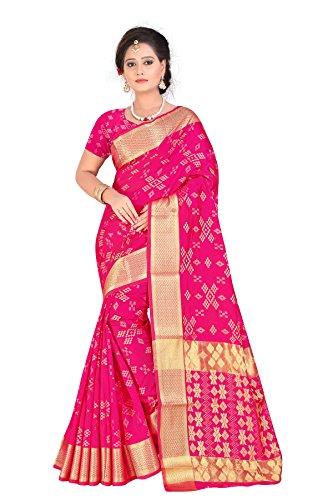 Inheart Banarasi Silk Saree With Blouse Piece(Sharma_Patola Pink_Pink Free Size)