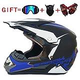 Shfmx Adult Motorcycle Off Road Helmet DOT-MX ATV Dirt Bike Motocross UTV (mit Riding Handschuhe, Goggles, Maske) Farbe (Matte Black/Blue Ghost Head),L