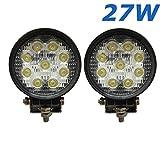 """Lot de 2 lampes de chantier, phare, bateau, automobile, camion, véhicule industriel type 4x4 à LED 4,3"""" de 2565 Lumens, 27W, 12V, 14V."""
