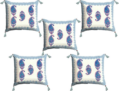 Viskar Fab Tex Set of Five Traditional Hand block printed pure cotton Paisley cushion covers -Ocean Blue