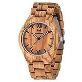 MUJUZE Herren Analoge Quarz Holzkern Armbanduhren mit Olivenholz Band und Leuchtendem Zeiger ME1001Olive Wood