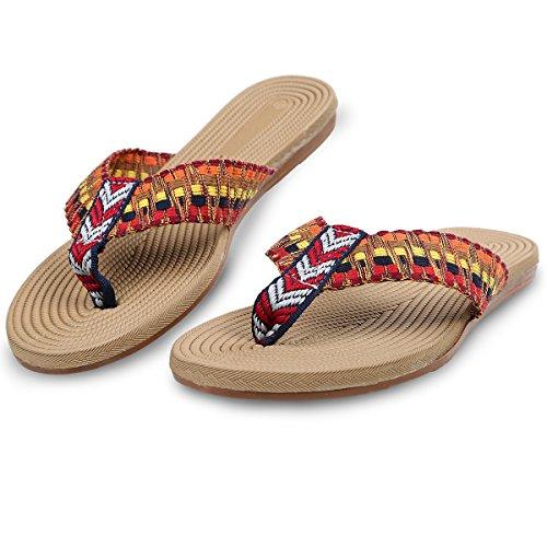 Zehentrenner Sandalen für Damen Summer Fashion Pantoffeln Hausschuhe Rot