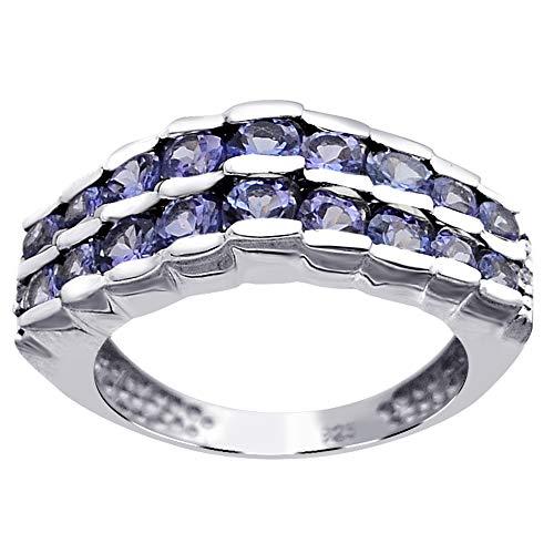 x Damen - Sterling-Silber 925 Sterling-Silber 925 Rund White Blue Tansanit, Diamant ()