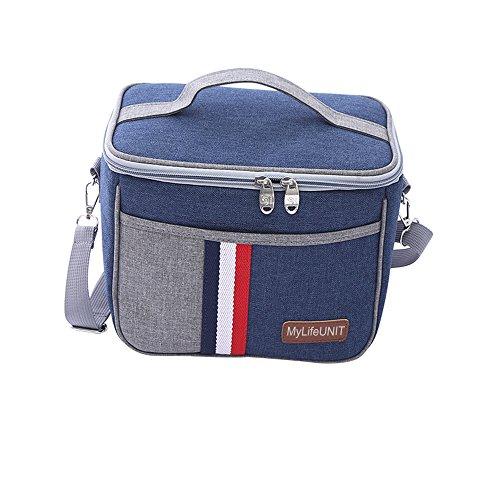 mylifeunit Isolierte Lunchtasche, Picknick Lunch Tote, Oxford Lunch Transporttasche mit Schultergurt, Oxford, blau, Square-2