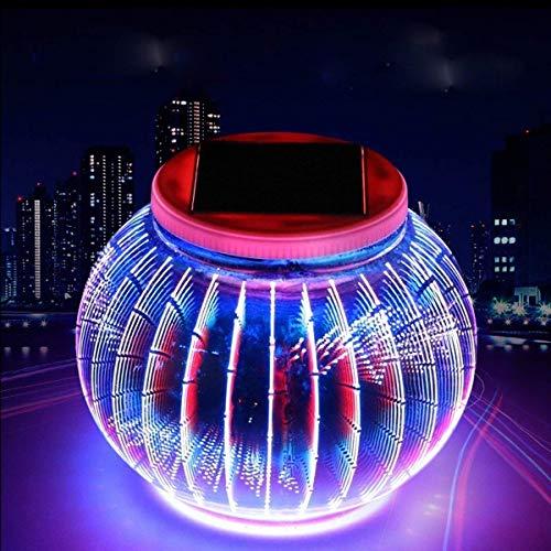 (Solar Mosaik Licht,3D LED Farbwechsel Mosaik wiederaufladbare solarbetriebene Glaskugel Ball Geschenk Lampe,Dekorative Nachtlicht für Garten, Terrasse, Party, Hof, Rasen, Pool, Outdoor und Indoor (Laterne))