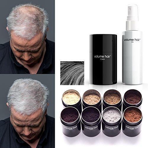 VOLUME HAIR Fibers & Fix-Spray - grau   Schütthaar & Volumen Spray zur Haarverdichtung. Sofort mehr Volumen, dichteres und volleres Haar.