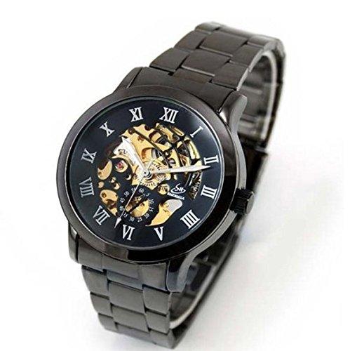 Timelyo® Herren-Armbanduhr, Automatik, Edelstahl, Schwarz (Schwarz Stahl Armbanduhr Fossil)