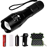 ONSON® Linterna LED Alta Potencia, Linternas Táctica Militar Recargable con 5 Modos Zoomable (incluida batería litio 18650 y cargador)