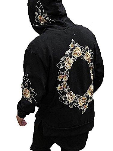 Outgobuy Männer Hip Hop Kreis Blumenstickerei Hoodies Unisex Fleece Sweatshirts Pullover (S, Schwarz) (Hip Hoodie Hop)