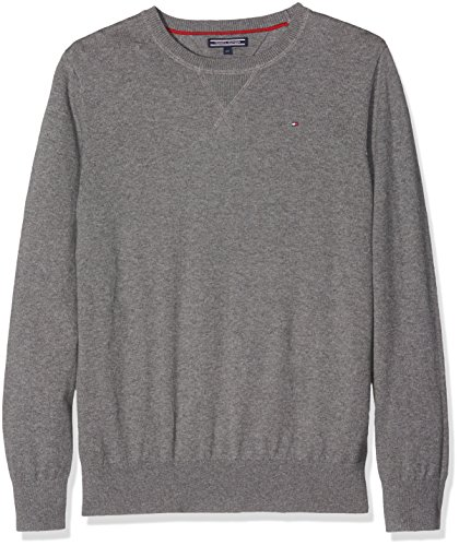 Tommy Hilfiger Jungen Pullover Ame Cotton Cashmere CN Sweater L/S, Grau (Mid Grey Htr 053), 8 Jahre (Herstellergröße: 8)