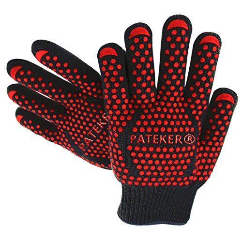 Pateker® Premium Quality Heat Resistant En407 Certified - 2 Professional Barbecue-grill-oven Cooking Gloves - One-size-fits-most